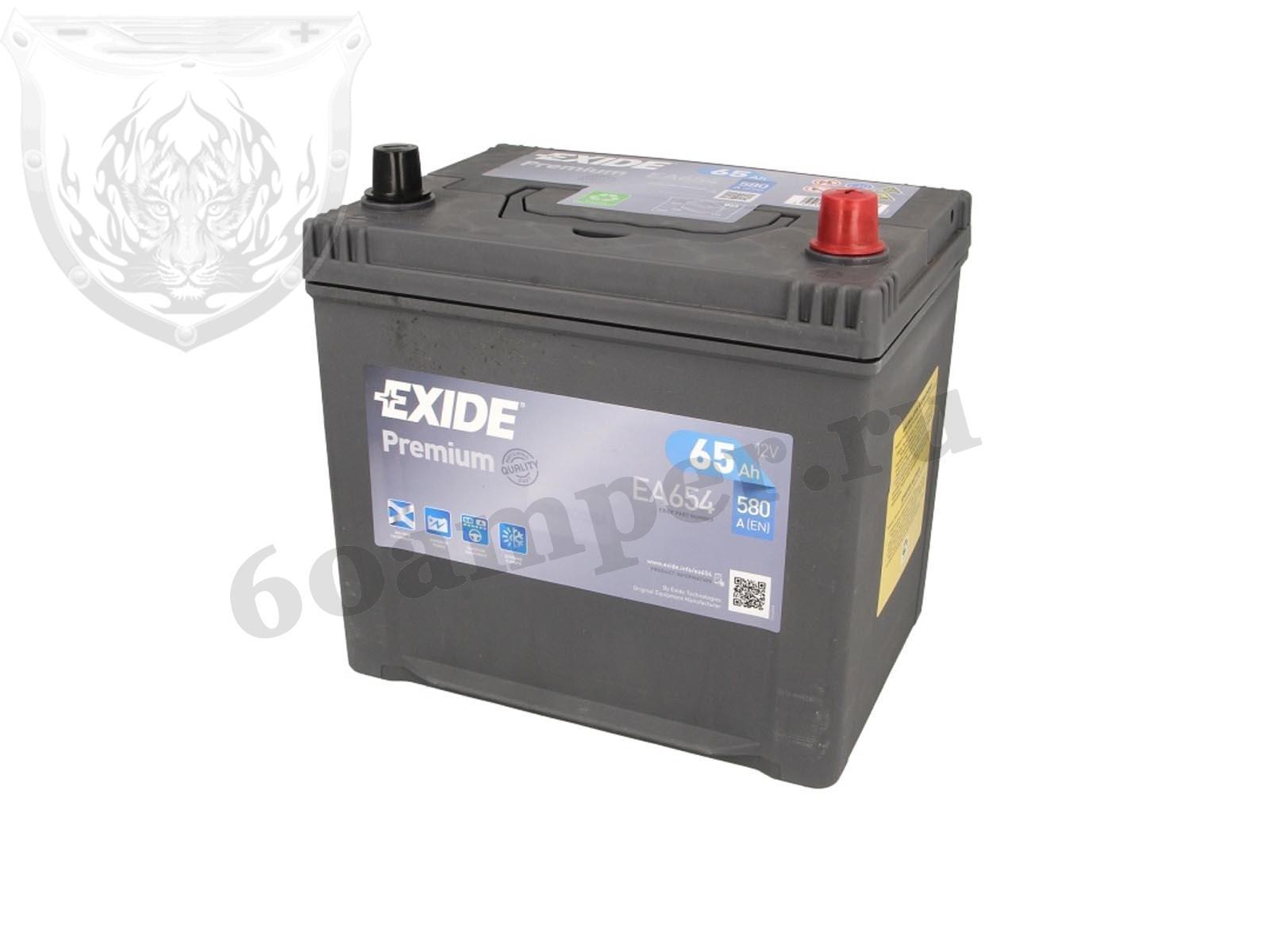 EXIDE 65 А/ч Обратный Азия EA654